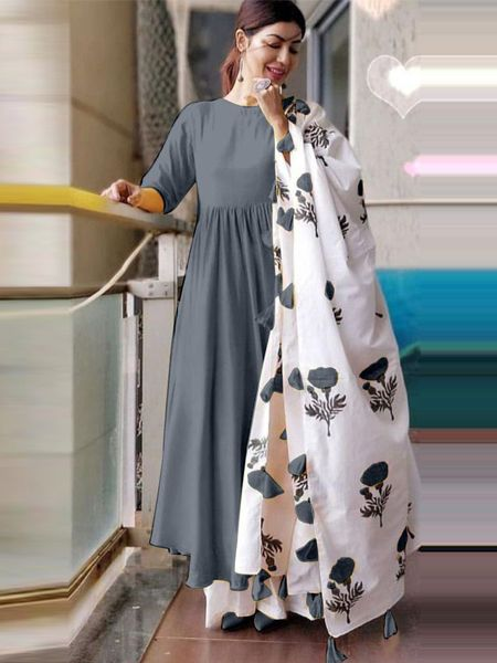 Plain Grey Kurta Set