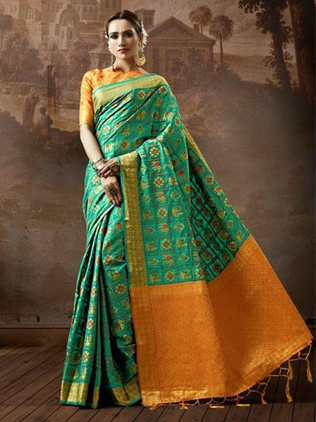 Green Checked Patola Silk Saree
