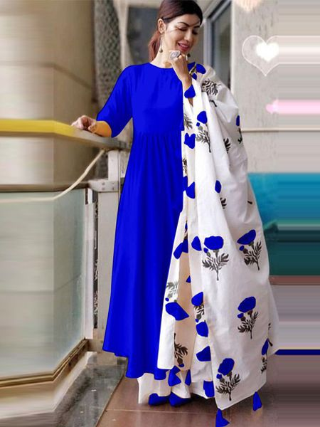 Plain Blue Kurta Set