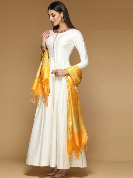 Buy White Kurti With Yellow Silk Dupatta Online- YOYO Fashion