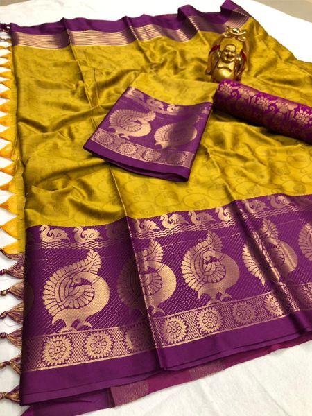Golden and Purple Woven Silk Saree