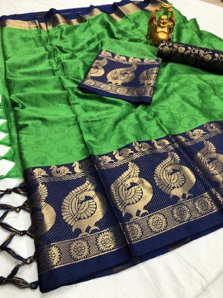 Green and Black Woven Silk Saree