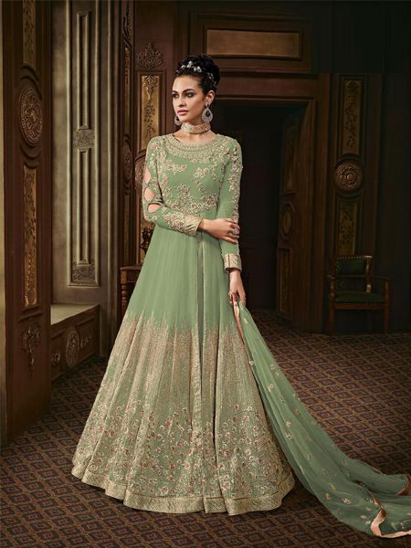 Georgette Embroidered Pakistani Suits In Green