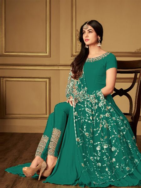 Plain Green Anarkali Suit With Embroidered Dupatta