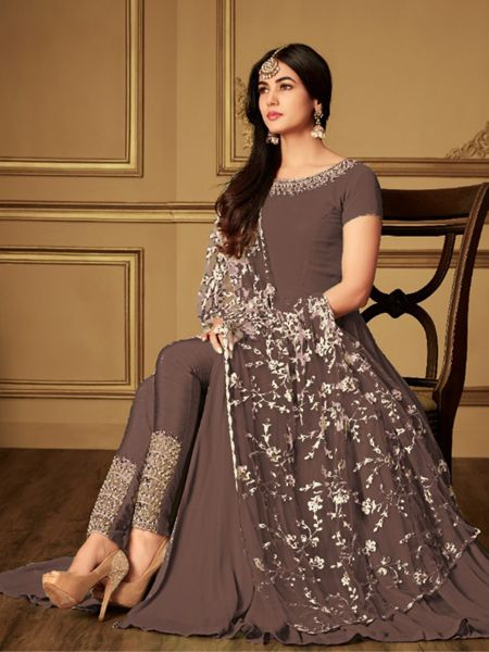 Plain Coffee Anarkali Suit With Embroidered Dupatta