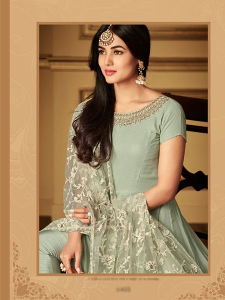 Plain Light Green Anarkali Suit With Embroidered Dupatta