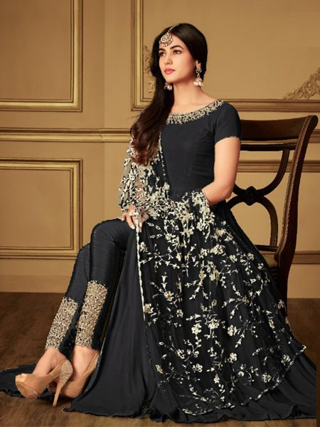 Plain Black Anarkali Suit With Embroidered Dupatta