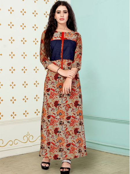 Buy Stylish Beige and Blue Printed Kurti Online in India- YOYO Fashion