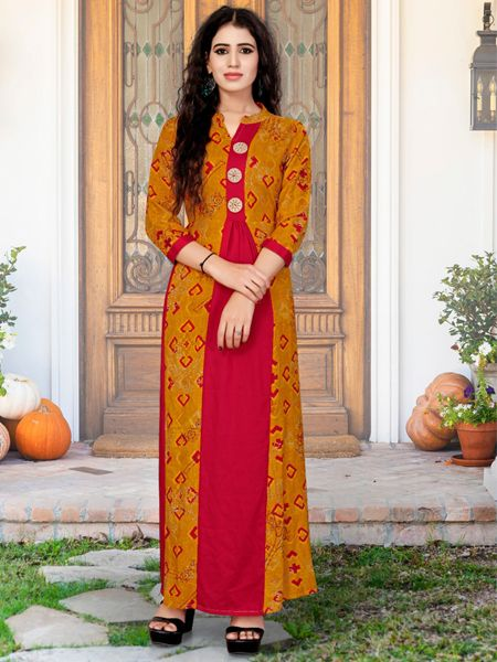 Buy Stylish Golden and Red Printed Kurti Online in India- YOYO Fashion