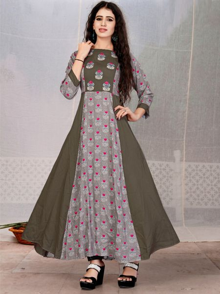Buy Stylish Grey Anarkali Kurti Online in India- YOYO Fashion
