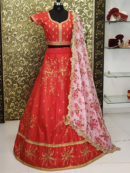 Red Embroidered Lehenga With Floral Dupatta