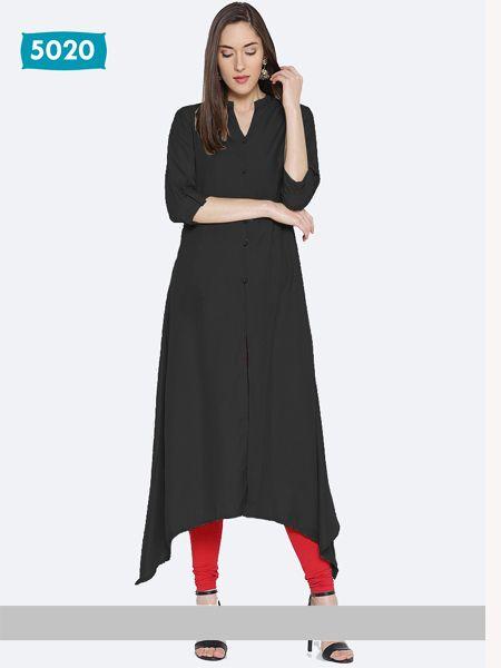 Buy Plain Black Asymmetrical Kurti Online in India - YOYO Fashion