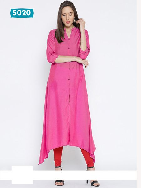 Buy Plain Pink Asymmetrical Kurti Online in India - YOYO Fashion
