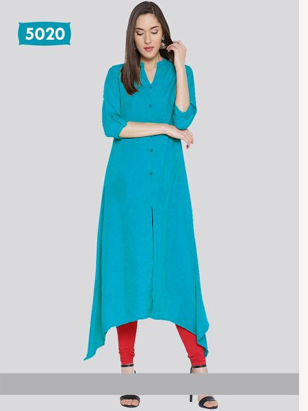 Buy Plain Blue Asymmetrical Kurti Online in India - YOYO Fashion