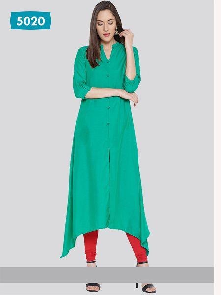 Buy Plain Green Asymmetrical Kurti Online in India - YOYO Fashion