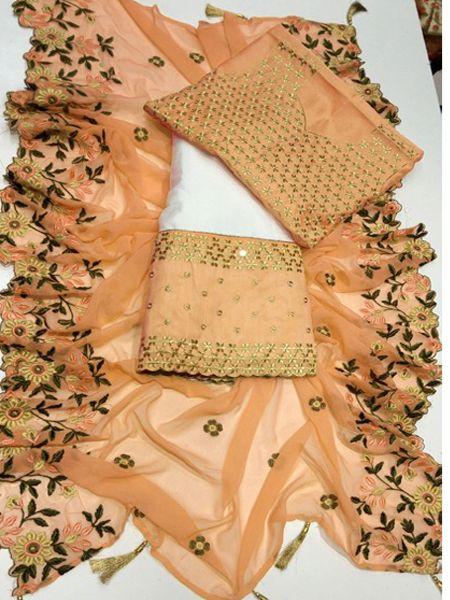 Designer White and Peach Embroidered Lehenga Choli