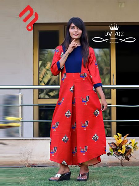 Buy Red and Blue Printed A-Line Kurti Online in India -YOYO Fashion