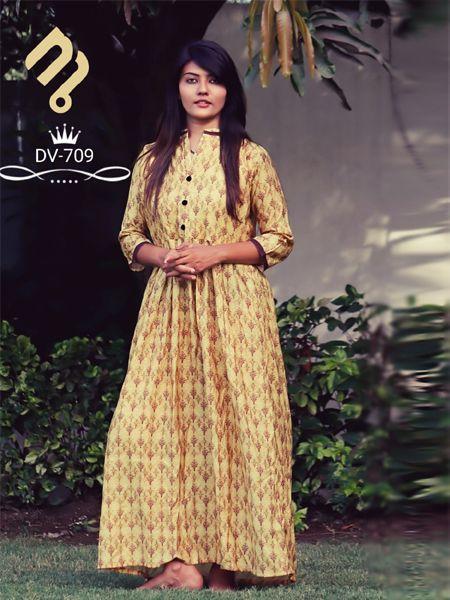 Buy Golden Printed A-Line Kurti Online in India - YOYO Fashion