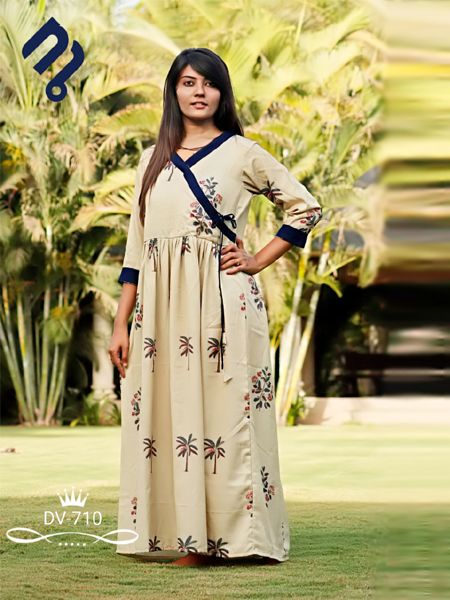Buy Beige Printed A-Line Kurti Online in India - YOYO Fashion