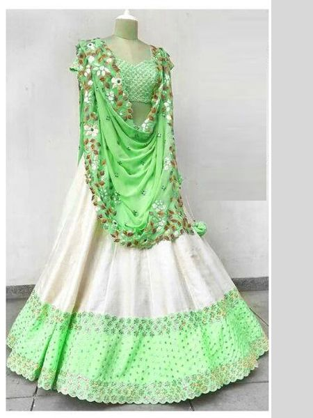 Designer White and Green Embroidered Lehenga Choli
