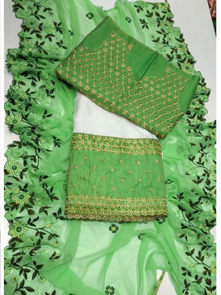 Designer White and Green Embroidered Lehenga Choli