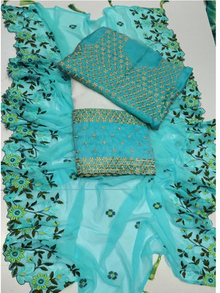 Designer White and Blue Embroidered lehenga Choli