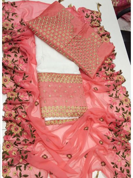 Designer White and Pink Embroidered Lehenga Choli