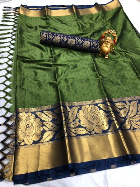 Mahendi and Golden Cotton Silk Saree