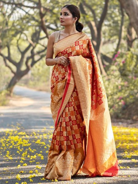 Buy Orange Handloom Woven Banarasi Saree Online in India - YOYO Fashion