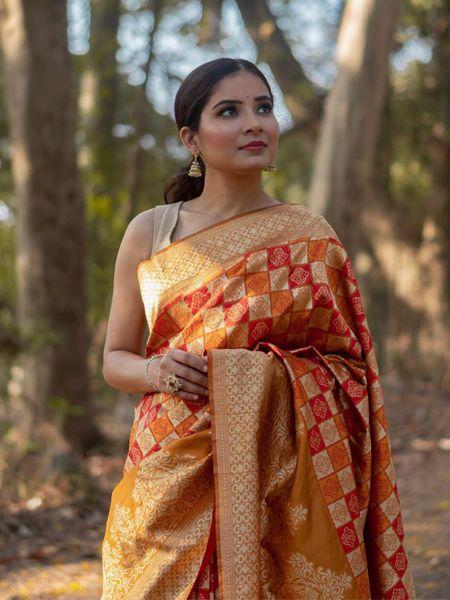 Orange Handloom Woven Banarasi Saree