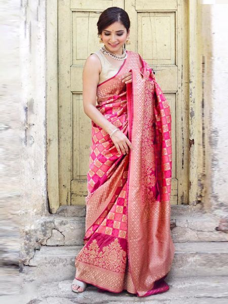Buy Pink Handloom Woven Banarasi Saree Online in India - YOYO Fashion