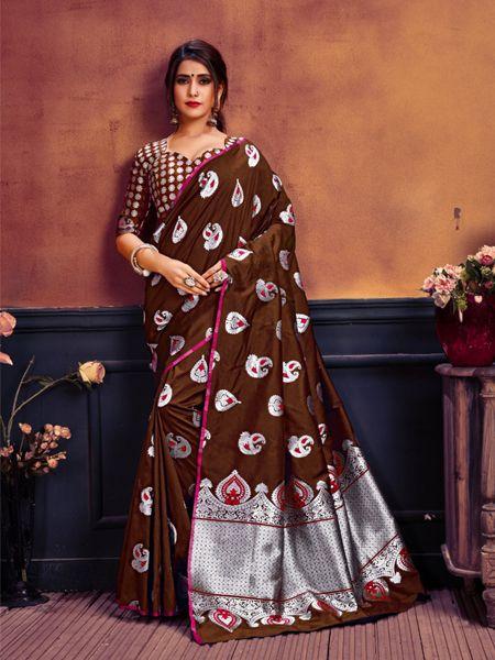 Buy Brown and Silver Toned Banarasi Silk Saree Online in India- YOYO Fashion