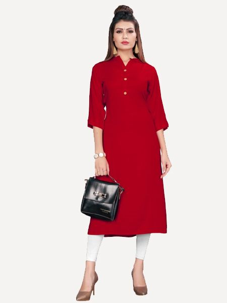 Buy Stylish Solid Red Kurti Online in India- YOYO Fashion