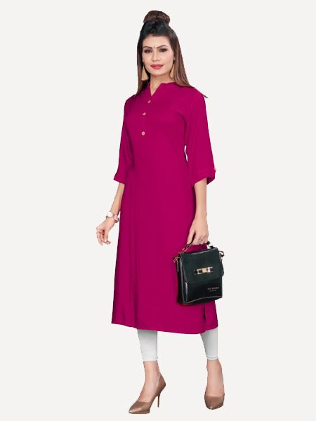 Buy Stylish Solid Pink Kurti Online in India - YOYO Fashion
