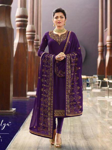 Designer Purple Embroidered Churidar Suit