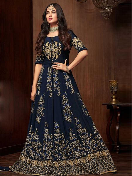 Designer Navy Blue Pakistani Dress