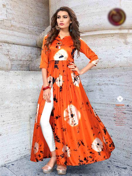 Orange Satin Front Slit Printed Kurti
