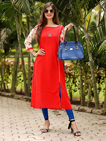 Buy Red Printed Straight Cotton Kurti Online in India - YOYO Fashion
