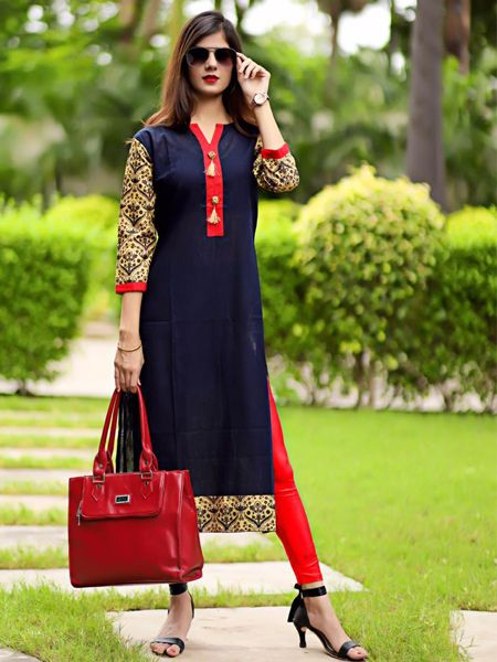 Buy Blue and Red Printed Straight Cotton Kurti Online in India -YOYO Fashion