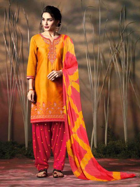 Buy Golden and Orange Patiala Salwar Suit Online in India- YOYO Fashion