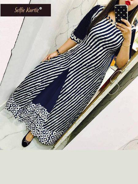 Blue Striped Printed-A-Line Kurti