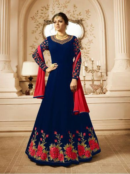 Blue Partywear Anarkali Dress