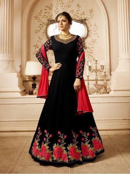 Black Partywear Anarkali Dress