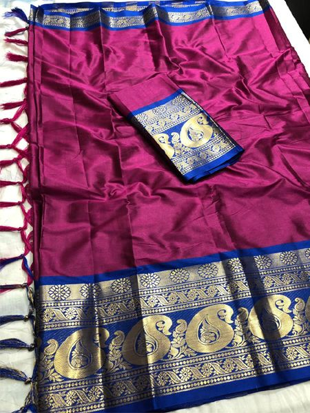 Buy Pink and Blue Cotton Silk Saree Online in India- YOYO Fashion