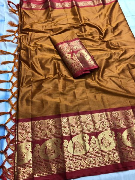 Buy Brown and Red Cotton Silk Saree Online in India - YOYO Fashion