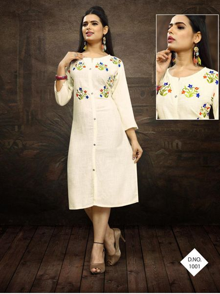 Buy Designer White Embroidered Kurti Online in India - YOYO Fashion