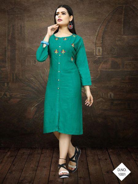 Buy Designer Green Embroidered Kurti Online in India - YOYO Fashion