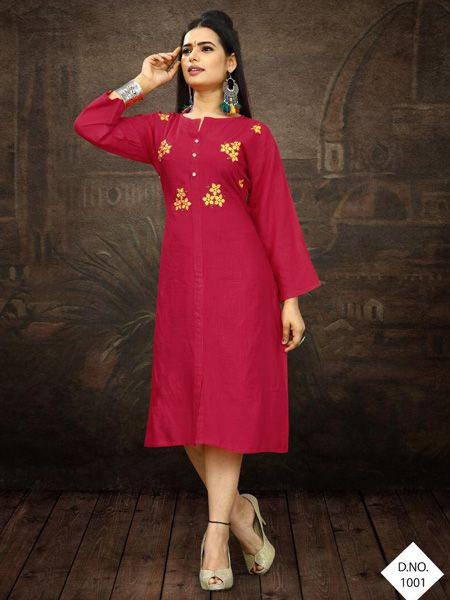 Buy Designer Rani Pink Embroidered Kurti Online in India- YOYO Fashion