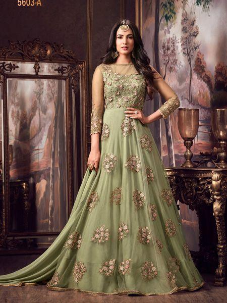 Designer Green Net Anrakali Suit