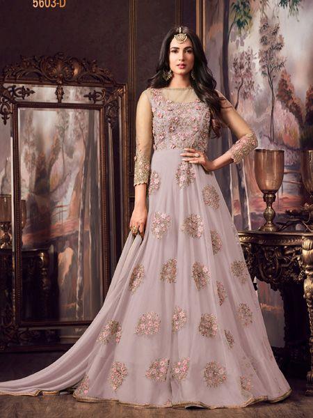 Designer Pink Net Anrakali Suit